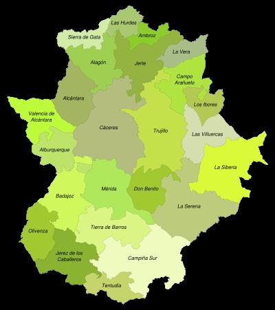 Mapa donde se pueden ver todas las comarcas de Extremadura